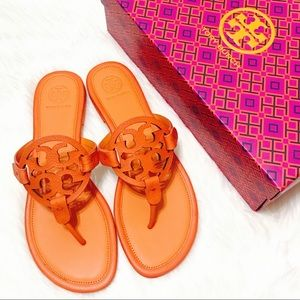 {Tory Burch} Tumbled Leather Miller Sandals